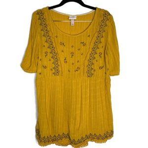 Knox Rose Short Sleeve Yellow Tunic